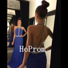 Open Back Prom Dress,Royal Blue Prom Dresses,Long Evening Dress