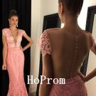 Mermaid Lace Prom Dress,Plunging Neck Prom Dresses,Evening Dress