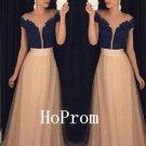 Short Sleeve Prom Dress,Lace Prom Dresses,Evening Dress
