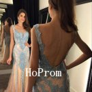 Mermaid Sequins Prom Dress,Lace Applique Prom Dresses,Evening Dress