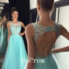 Light Blue Prom Dress,Beaded Prom Dresses,Long Evening Dress