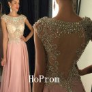 See Through Prom Dress,Beading Prom Dresses,Long Evening Dress
