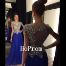 See Through Prom Dress,Beading Prom Dresses,Long Evening Dress