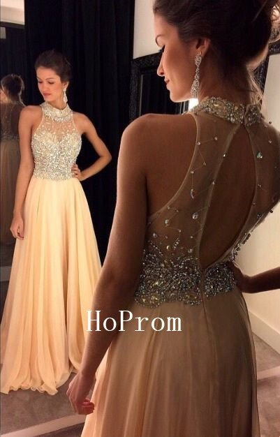 Crystals Prom Dress,High Neck Prom Dresses,Evening Dress