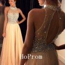 Crystals Prom Dress,High Neck Prom Dresses,Evening Dress