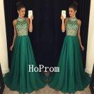 Long Chiffon Prom Dress,Sparkly Crystal Prom Dresses,Evening Dress