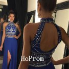 High Collar Prom Dress,Beading Prom Dresses,Long Evening Dress