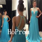 A-Line Prom Dress,Blue Halter Prom Dresses,Evening Dress