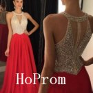 Halter Beaded Prom Dress,Blue Prom Dresses,Long Evening Dress