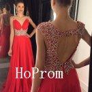 V-Neck Prom Dress,Empire Beading Prom Dresses,Evening Dress