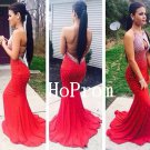 Sexy Backless Prom Dress,Red Mermaid Prom Dresses,Long Evening Dress