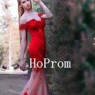 Off Shoulder Prom Dress,Red Mermaid Prom Dresses,Evening Dress