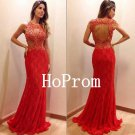 Red Lace Prom Dress,Pearls Prom Dresses,Evening Dress