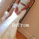 Two Piece Prom Dress,White Beading Prom Dresses,Evening Dress