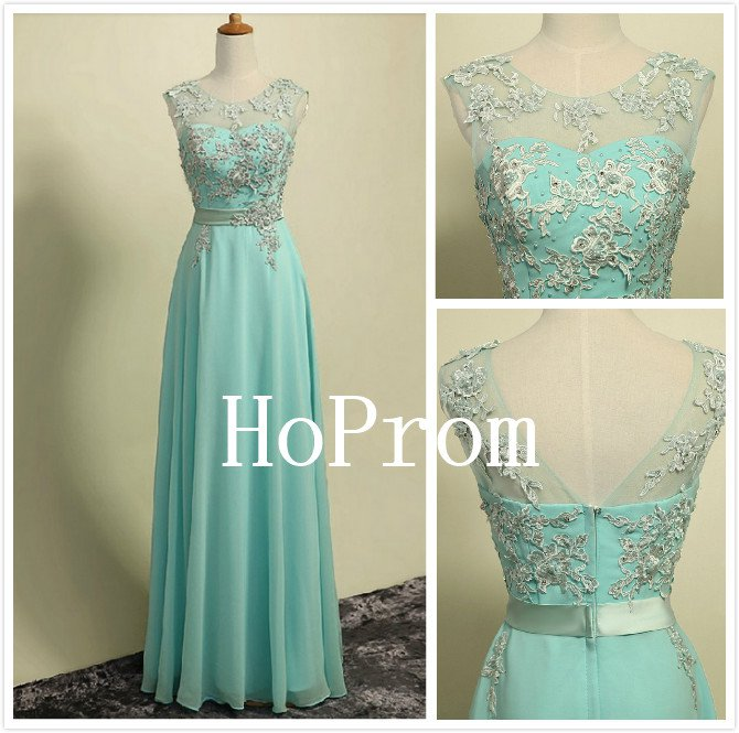 A-Line Applique Prom Dress,Mint Chiffon Prom Dresses,Evening Dress