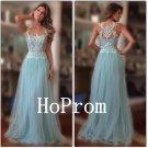 Applique Prom Dress,Blue Tulle Prom Dresses,Evening Dress