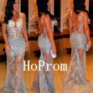 See Through Prom Dress,Lace Applique Prom Dresses,Evening Dress