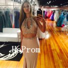Two Piece Prom Dress,Sheath Prom Dresses,Evening Dress