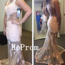 White Lace Prom Dress,Long Prom Dresses,Evening Dress