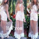 Backless Prom Dress,White Lace Prom Dresses,Evening Dress