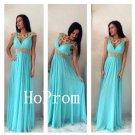V-Neck Chiffon Prom Dress,Long Prom Dresses,Evening Dress