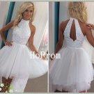 White Short Homecoming Dress,Halter Tulle Homecoming Dresses,Prom Dress