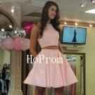 Light Pink Homecoming Dress,Short Beaded Homecoming Dresses,Prom Dress