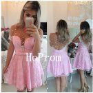 Short Sleeve Homecoming Dress,Pink Lace Homecoming Dresses,Prom Dress