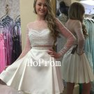 Long Sleeve Homecoming Dress,White Short Homecoming Dresses,Prom Dress