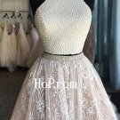 Two Piece Homecoming Dress,Halter Homecoming Dresses,Prom Dress