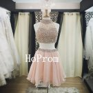High Neck Homecoming Dress,Beaded Short Homecoming Dresses,Prom Dress