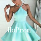 Mint Satin Homecoming Dress,Halter Short Homecoming Dresses,Prom Dress