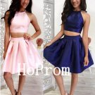 Two Piece Homecoming Dress,Satin Short Homecoming Dresses,Prom Dress