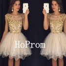 Gold Applique Homecoming Dress,Short Tulle Homecoming Dresses,Prom Dress