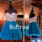 Crystal Beaded Homecoming Dress,Strapless Homecoming Dresses,Prom Dress