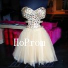 Beading Tulle Homecoming Dress,Short Homecoming Dresses,Prom Dress