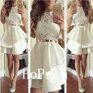 White Sleeveless Homecoming Dress,Short Homecoming Dresses,Prom Dress