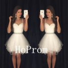 Spaghetti Straps Homecoming Dress,White Tulle Homecoming Dresses,Prom Dress