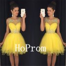 A-Line Homecoming Dress,Yellow Tulle Homecoming Dresses,Prom Dress