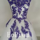Applique Tulle Prom Dress,Knee Length Prom Dresses,Evening Dress