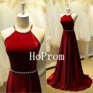 Cross Back Prom Dress,Halter Prom Dresses,Evening Dress