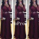 Maroon Lace Prom Dress,A-Line Prom Dresses,Evening Dress