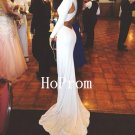 White Satin Prom Dress,Floor Length Prom Dresses,Evening Dress