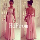 See Through Prom Dress,Pink Prom Dresses,Evening Dress