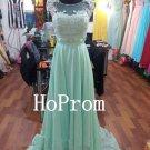 Mint Chiffon Prom Dress,A-Line Prom Dresses,Evening Dress