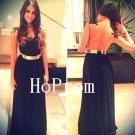 Black Backless Prom Dress,Lace Chiffon Prom Dresses,Evening Dress