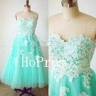 Tea Length Prom Dress,Tulle Prom Dresses,Evening Dress