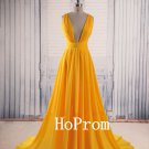 Yellow Chiffon Prom Dress,Floor Length Prom Dresses,Evening Dress
