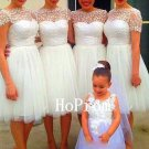 Lace Tulle Prom Dress,White Short Prom Dresses,Evening Dress