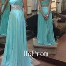 One Shoulder Prom Dress,Blue Beaded Prom Dresses,Evening Dress